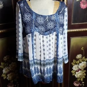 V Christina Semi Sheer Boho Blouse